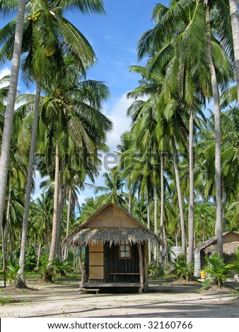 Tropical beach with bungalow and palm trees, Chang Island, Thailand