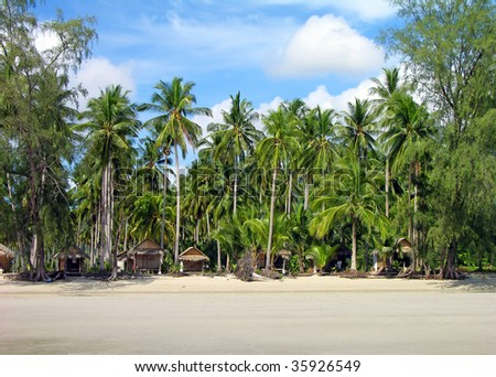 Tropical beach with bungalows and palm trees, Chang Island, Thailand
