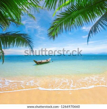 tropical beach with coconut palm #1266970660