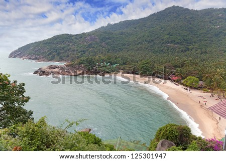Tropical beach with coconut palms on Koh Phangan island, Thailand