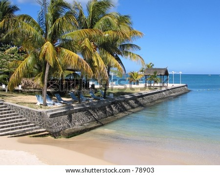 Tropical beach with coconut trees,Mauritius