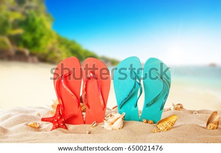 Tropical beach with colored flip flops, summer holiday background. Travel and beach vacation, free space for text. - Shutterstock ID 650021476