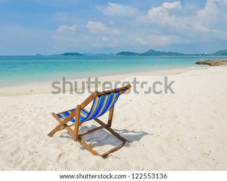 Tropical beach with colorful beach chair, Thailand