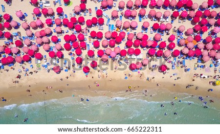 Tropical beach with colorful umbrellas - Top down aerial view #665222311