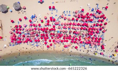 Tropical beach with colorful umbrellas - Top down aerial view #665222326