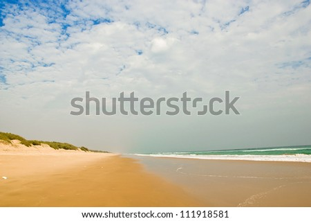 Tropical beach with dramatic sky and clouds in Chilika, India