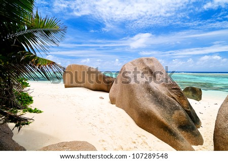 Tropical beach with rocks on white sand, the Seychelles