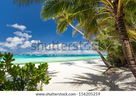 Tropical beach with white sand Philippines Boracay Island
