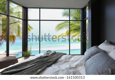 Tropical bedroom interior with double bed and seascape view #161500313