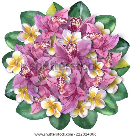 tropical bouquet of orchids and plumeria. lovely bunch of flowers and leaves on the top view