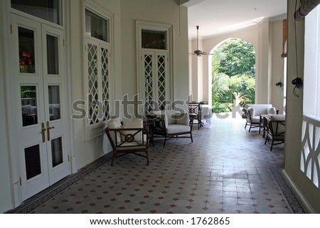 stock photo : Tropical British colonial architecture and design