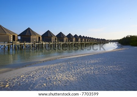 Tropical bungalows on the island Kuredu in the Indian Ocean, Maldives