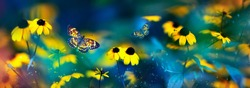 Tropical butterflies and yellow bright summer flowers on a background of colorful  foliage in a fairy garden. Macro artistic image. Banner format.