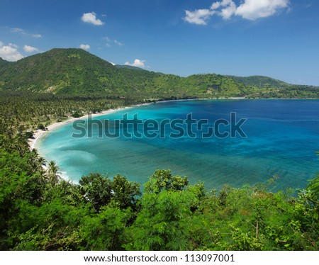 Tropical calm lagoon with palm trees among a coast at sunny day. Lombok island, Indonesia