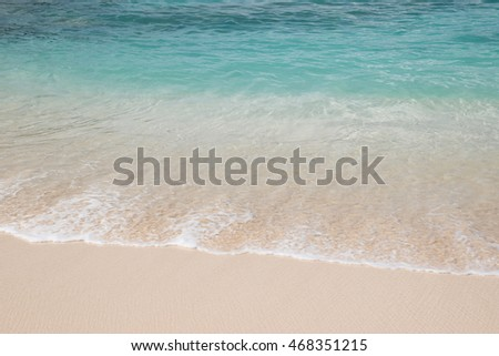 Tropical Caribbean beach with shallow water. #468351215
