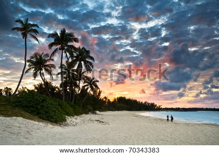 Tropical Caribbean White Sand Beach Paradise at Sunset with palm trees and tourists