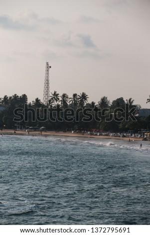 tropical coastline of coconut trees and beach #1372795691
