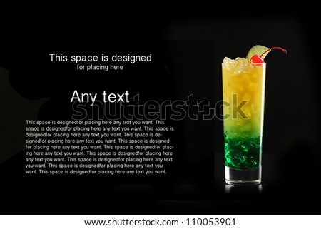 Tropical cocktail isolated on black background with cocktail cherry