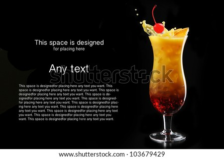 Tropical cocktail isolated on black background with cocktail cherry and orange
