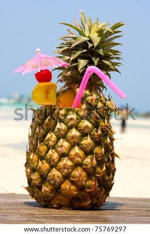 Tropical cocktail on the beach . Thailand .