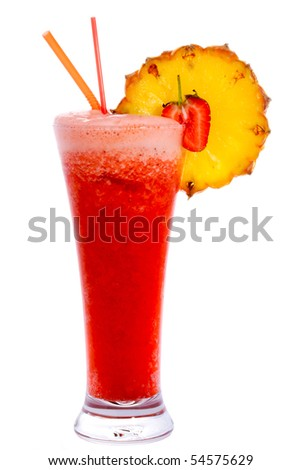 Tropical cocktail Rebecca Louise isolated on white