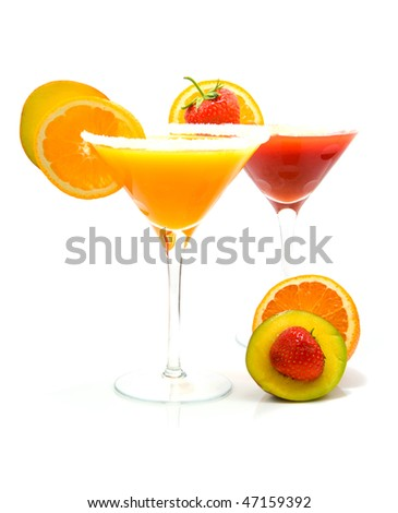 Tropical cocktails  with fruits isolated on white background