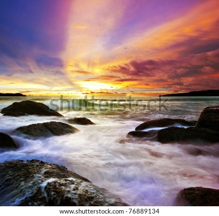 Tropical colorful sea sunset. Thailand