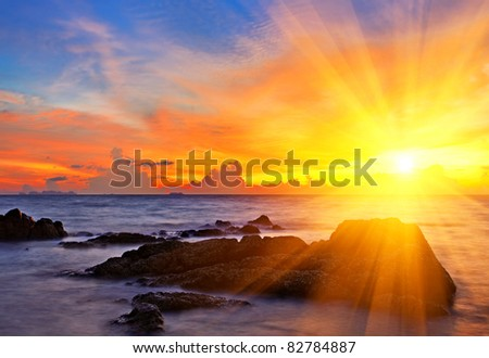 tropical colorful sunset at the ...
