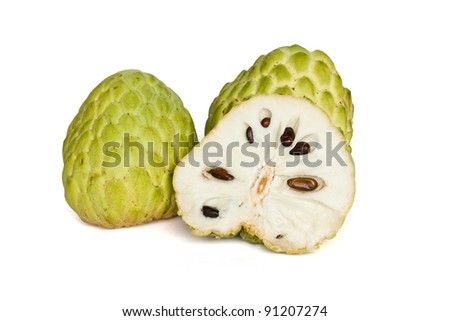 Tropical custard apple fruit on white background