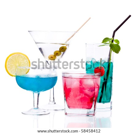 Tropical Drinks isolated on white background