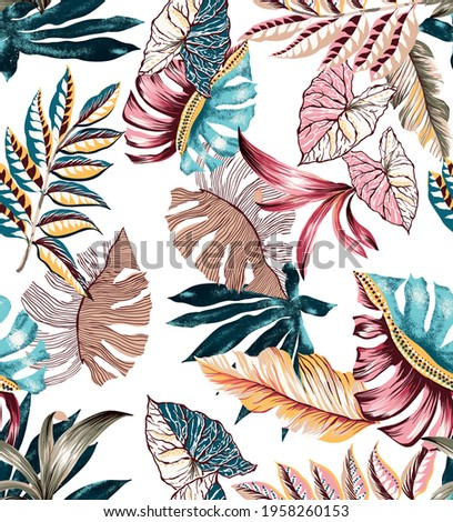 Tropical ethnic leaves seamless pattern colorful. Fabric texture repeated textile print. Exotic leaf elements different folkloric damask motif batik. White background.