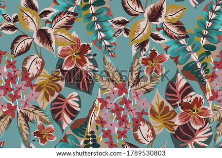 Tropical exotic flowers and leaves fabric design seamless pattern with botanic plant and branch, group small flowers and vintage leafs on tiffany color water background. Foto d'archivio ©