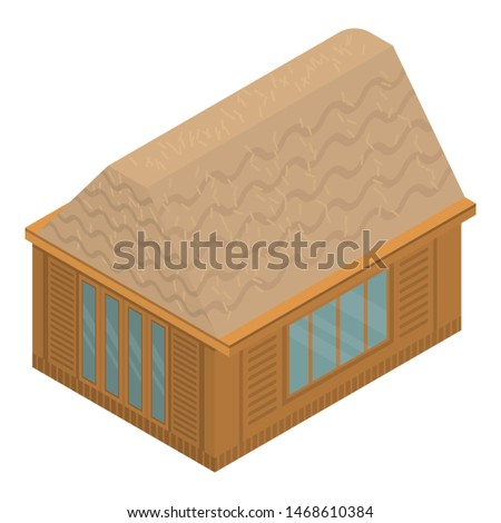Tropical exotic house icon. Isometric of tropical exotic house icon for web design isolated on white background