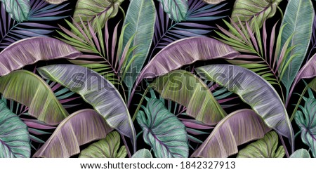 Tropical exotic luxury seamless pattern with color vintage banana leaves, palm and colocasia. Hand-drawn 3D illustration. Good for production wallpapers, wrapping paper, cloth, fabric printing, goods.