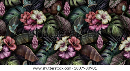 Tropical exotic seamless pattern with birds, monstera, hibiscus, bromeliad, banana leaves, palm, colocasia. Hand-drawn 3D illustration. Good for production wallpapers, cloth, fabric printing, mural Foto stock ©