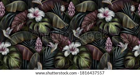 Tropical exotic seamless pattern with birds, monstera, hibiscus, bromeliad, banana leaves, palm, colocasia. Hand-drawn 3D illustration. Good for production wallpapers, cloth and fabric printing.