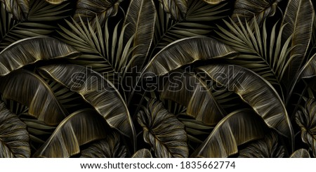 Tropical exotic seamless pattern with dark golden vintage banana leaves, palm and colocasia. Hand-drawn 3D illustration. Good for production wallpapers, cloth, fabric printing, goods.
