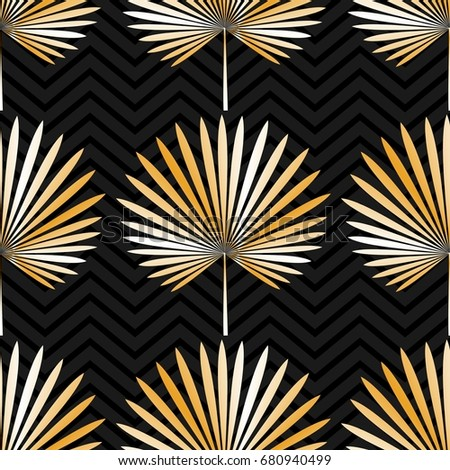 Tropical exotic seamless pattern with palm leaves. Illustration.