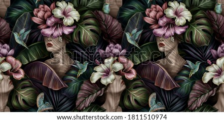 Tropical exotic seamless pattern with woman, monstera, hibiscus, bromeliad, banana leaves, palm, colocasia. Hand-drawn 3D illustration. Good for production wallpapers, cloth and fabric printing.