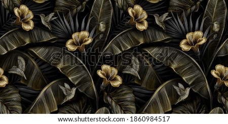 Tropical exotic vintage seamless pattern with gold hibiscus, colibri, banana leaves, palm leaves, colocasia. Hand-drawn 3D illustration. Good for production wallpapers, cloth, fabric printing, goods.