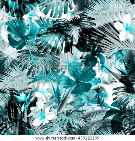 Tropical floral pattern. Exotic leaves and flowers seamless pattern. Beautiful photo collage.  #459222109