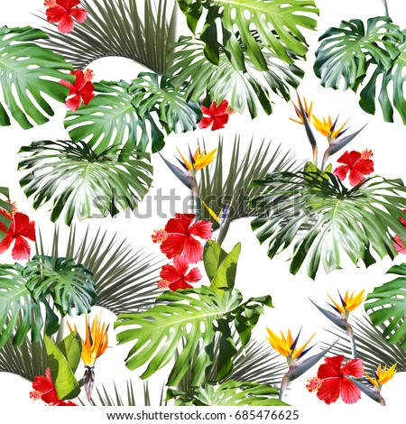 Tropical floral pattern leaves repeating background. Exotic photo collage realistic design for floral wallpaper. Amazing leafs and bloom flowers backdrop.