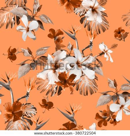 Tropical floral print. Clip art - photo collage. Vintage realistic vintage flowers seamless pattern.