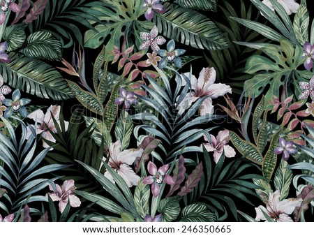 tropical floral print. variety of jungle and island flowers in bouquets in a dark exotic print. allover design, realistic vintage watercolor illustration.