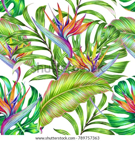 Tropical floral seamless pattern background with exotic flowers, jungle leaves, monstera leaf, strelitzia, bird of paradise flower. Botanical summer illustration in Hawaiian style