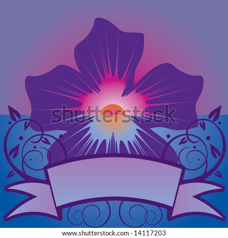 Tropical flower sunset with banner in JPEG/TIFF format (Image ID for vector version: 14036152)