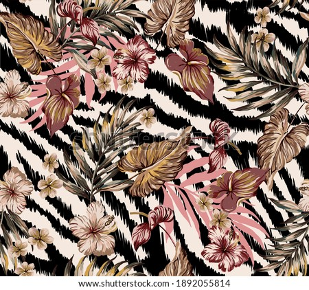 Tropical flowers and leaves exotic illustration with zebra skin background seamless pattern abstract wallpaper texture, with anthurium, hibiscus, plumeria, palm leaves, animal skin effect repeated.