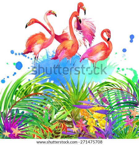 Tropical flowers, leaves and bird. watercolor summer nature background