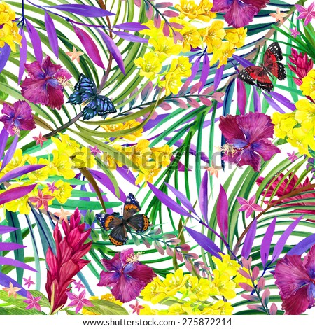 Tropical flowers, leaves and butterfly. watercolor summer floral background
