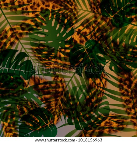 Tropical foliage palm tree flowers and leopard texture. Seamless pattern with a rectangular pattern. Vector background #1018156963